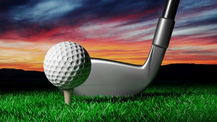 Golf ball with club with evening outdoors background