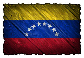 Venezuela flag painted on wooden tag