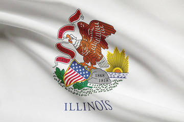 Series of ruffled flags of US states. State of Illinois.