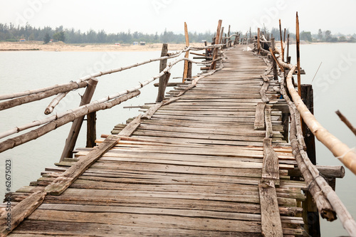 Rickety wooden bridge
