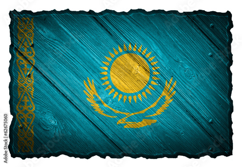 Kazakhstan flag painted on wooden tag