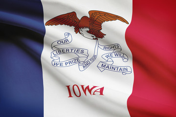 Series of ruffled flags of US states. State of Iowa.