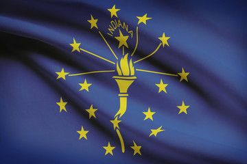 Series of ruffled flags of US states. State of Indiana