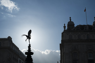 LONDON, UK - MARCH 14: Silhouette of Alfred Gilbert's statue of