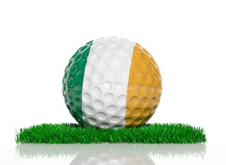 Golf ball with flag of Ireland on green grass