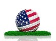canvas print picture - Golf ball with flag of USA on green grass