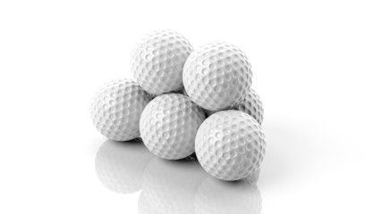 Golf ball in stack isolated on white
