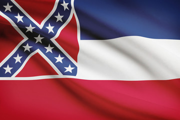 Series of ruffled flags. State of Mississippi.