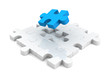 different blue piece of jigsaw puzzle structure