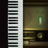 Abstract background with retro radio and piano