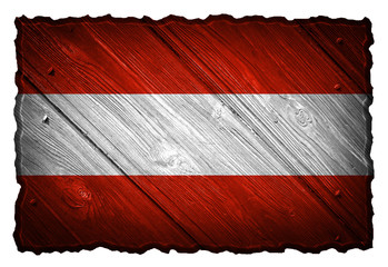 Austria flag painted on wooden tag