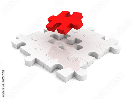 different red piece of jigsaw puzzle structure