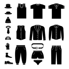 Set of men's clothes and accessories icons