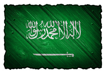 Saudi Arabia flag painted on wooden tag