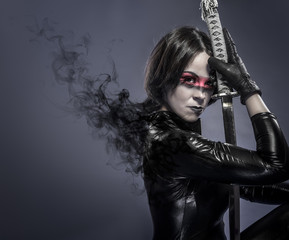 Brunette with katana sword, fineart concept