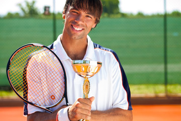 Smiling tennis winner