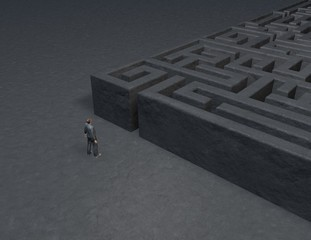 problem, solution concept with maze and man