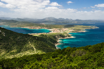 Panoramic view from Capo Figari, with city of Golfo Aranci.