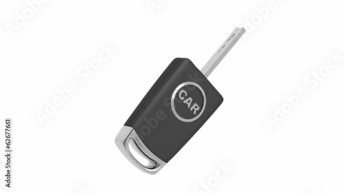 Electronic car key rotates on white background