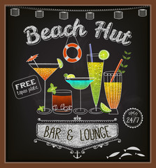 Chalkboard Beach Bar Poster