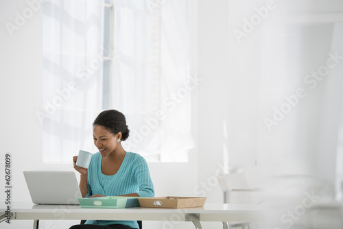 Light And Airy Working Environment. A Woman Seated Using A Laptop.