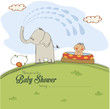 baby shower card with a small boy sprayed by an elephant