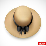 Vintage Hat for the garden or beach. Vector