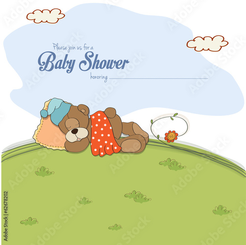 baby shower card with teddy bear