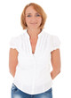 Casual middle aged woman. All on white background.