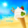 Soft strawberry ice-cream on beach background