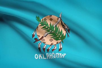 Series of ruffled flags of US states. State of Oklahoma.