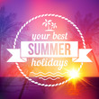 Summer tropical sunset background with text badge