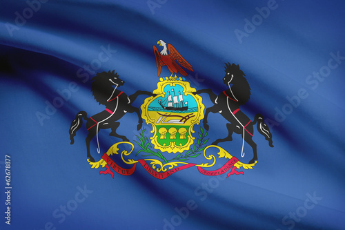 Series of ruffled flags. Commonwealth of Pennsylvania.