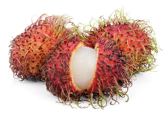 Opened rambutan fruits isolated on white background