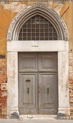 vecchia porta di legno ,Venezia,Italia