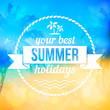 Summer tropical beach vector background with badge