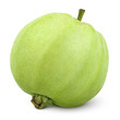Single green guava isolated on white with clipping path