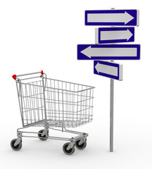 shopping cart and signage arrow