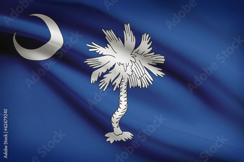 Series of ruffled flags of US states. State of South Carolina.