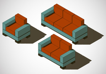 furniture set of rectangles vector