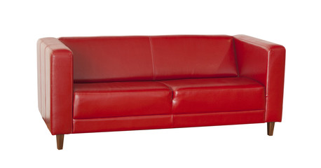 Red sofa (couch) isolated on white