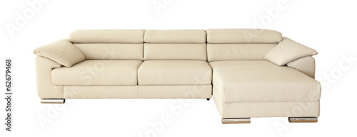 Light brown leather sofa (couch) isolated on white