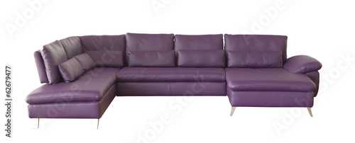 Purple sofa isolated on white