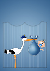 stork with baby boy for newborn