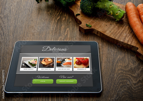 Cooking recipe on tablet pc