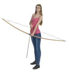 Young girl with bow and arrow