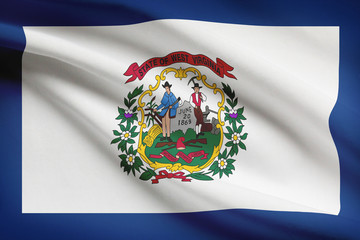 Series of ruffled flags of US states. State of West Virginia.
