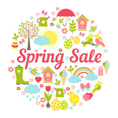 Decorative circular Spring Sale Sign