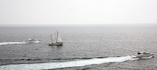 Yachts and sailboat in the Mediterranean sea Monaco