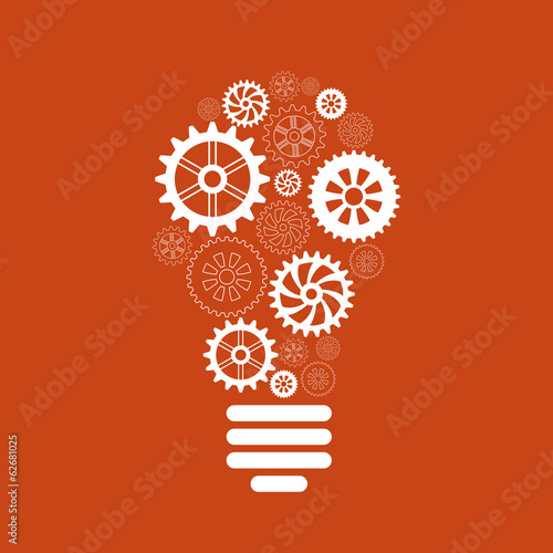 light bulb of gears and cogs